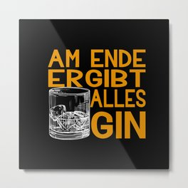 Gin Alcohol Glass Party Gift Idea Metal Print