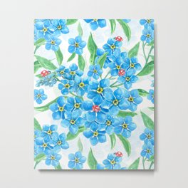Forget me not flowers and ladybugs Metal Print