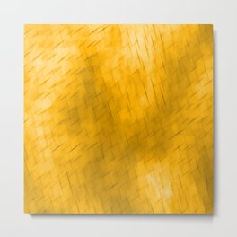 Line texture of orange oblique dashes with a dark intersection on a luminous charcoal. Metal Print