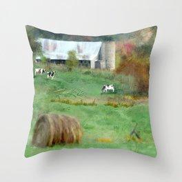 Barnyard Cows Throw Pillow