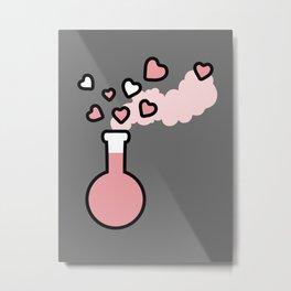 Pink Love Magic Potion in a Laboratory Flask Metal Print
