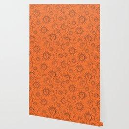 Orange Magic Celestial Sun Moon Stars Wallpaper