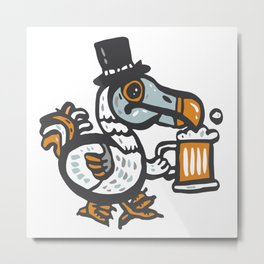 Dodo with beer Metal Print
