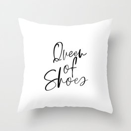 Queen Of Shoes, Shoe Lover Gift, Shoe Wall Art, Girls Room Decor, Fashion Wall Art, Bedroom Wall Art Throw Pillow