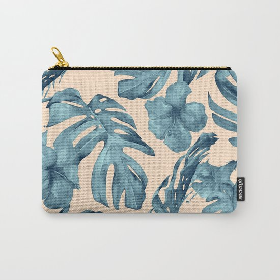 Island Vacay Hibiscus Palm Pale Coral Teal Blue by followmeinstead