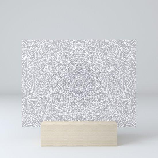 Most Detailed Mandala! Cool Gray White Color Intricate Detail Ethnic Mandalas Zentangle Maze Pattern by aej_design