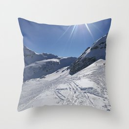 Up here, with sun and snow Throw Pillow