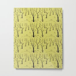 Seamless Tree Pattern with small trees Metal Print