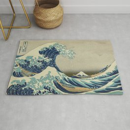 The Classic Japanese Great Wave off Kanagawa Print by Hokusai Rug
