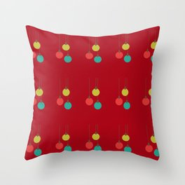 Christmas globes pattern retro colors red background Throw Pillow