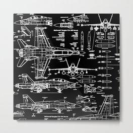 F-18 Blueprints // Black Metal Print