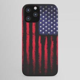 Vintage American flag on black iPhone Case