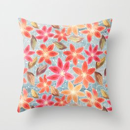 Cute Lilies and Leaves Throw Pillow
