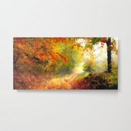 Autumn Haze Oil Painting Metal Print