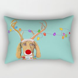 George the Holiday Hound Rectangular Pillow