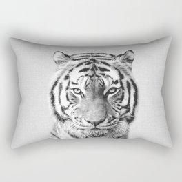 Tiger - Black & White Rectangular Pillow
