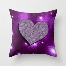bubble heart purple bright Throw Pillow