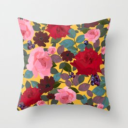 Vintage red pink roses and chocolate cosmos flower pattern yellow background Throw Pillow