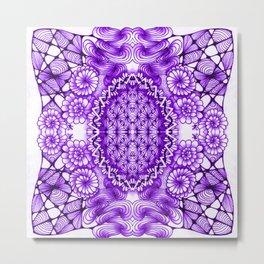Purple Zentangle Tile Doodle Design Metal Print