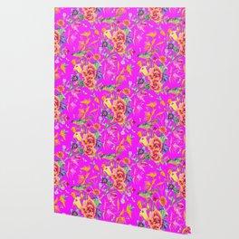 Bold Summer Print on Magenta Pink Wallpaper