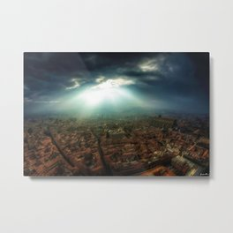 Rays of Sunlight Over Florence Landscape Painting by Jeanpaul Ferro Metal Print