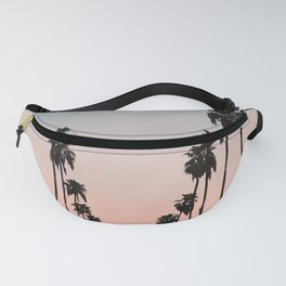 California Sunset // Palm Tree Silhouette Street View Orange and Blue Color Sky Beach Photography Fanny Pack
