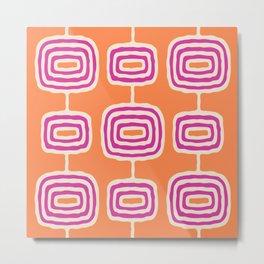Mid Century Modern Atomic Rings Pattern 250 Magenta Orange and Beige Metal Print