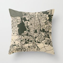 Madrid City Map of Spain - Vintage Throw Pillow