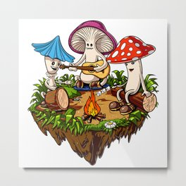Magic Mushrooms Hippie Fungi Metal Print