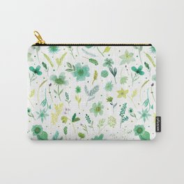 Verdant Green Flowers Carry-All Pouch