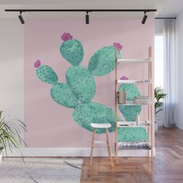 Cactus with pink flowers Wall Mural