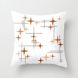 Mid Century Modern Stars Orange Throw Pillow