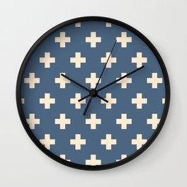 Swiss Cross Blue Wall Clock