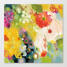 abstract floral art in yellow green and rose magenta colors Leinwanddruck