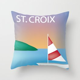 St. Croix, Virgin Islands- Skyline Illustration by Loose Petal Throw Pillow