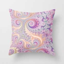 Pastel Coral and Pink Swirls and Spirals Pattern Throw Pillow