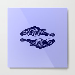 Navy Blue Shorefish Couple Metal Print