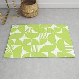 Lime Green Mid Century Bauhaus Semi Circle Pattern Rug