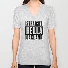Straight Hella Oakland (Black) Unisex V-Neck