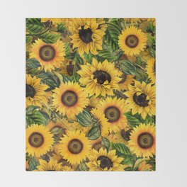 Vintage & Shabby Chic - Noon Sunflowers Garden Throw Blanket