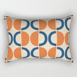 Mid Century Modern Half Circle Pattern 534 Beige Blue and Orange Rectangular Pillow
