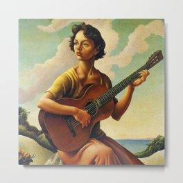 Classical Masterpiece 'Jesse with Guitar' by Thomas Hart Benton Metal Print