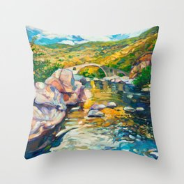 Bridge in the mountains Throw Pillow