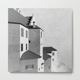 Castle in the Sky | Black & White Metal Print