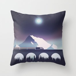 Locomotive at night Throw Pillow