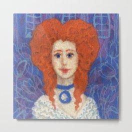 Red Hair, Ginger Lady, Wool Painting Metal Print