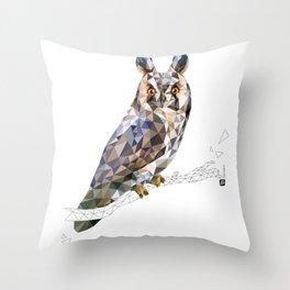 Long-eared owl (Asio otus) Throw Pillow