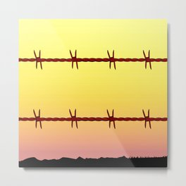 Mexico Border Barbe Wire Fence Metal Print