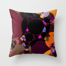 marilyn - abstract design of black pumpkin orange garnet red and pink Throw Pillow