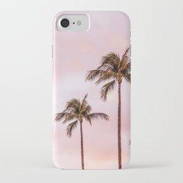 Palm Tree Photography | Landscape | Sunset Unicorn Clouds | Blush Millennial Pink iPhone Case